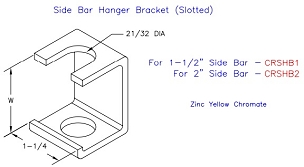 (CRSHB1) Side Bar Hanger Bracket, Slotted, 1-1/2