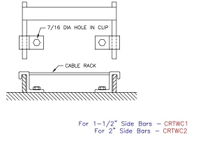 (CRTWC1TG) Cable Rack to Wall W/ Clip, 1-1/2